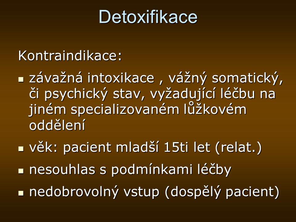 Detoxifikace Kontraindikace: