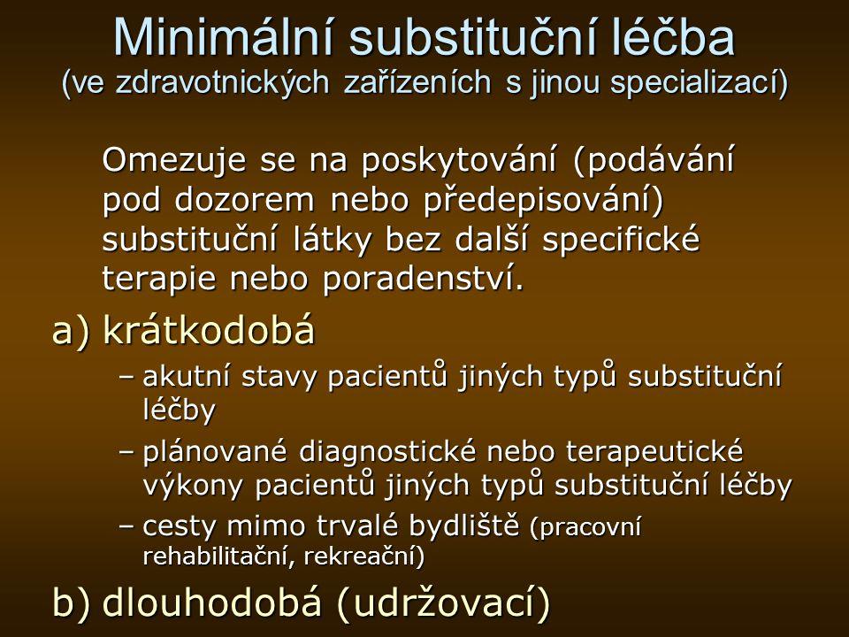 Minimální substituční léčba (ve zdravotnických zařízeních s jinou specializací)