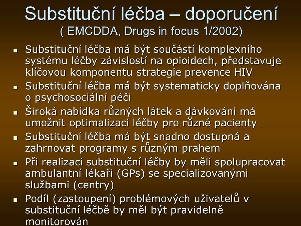 Substituční léčba – doporučení ( EMCDDA, Drugs in focus 1/2002)
