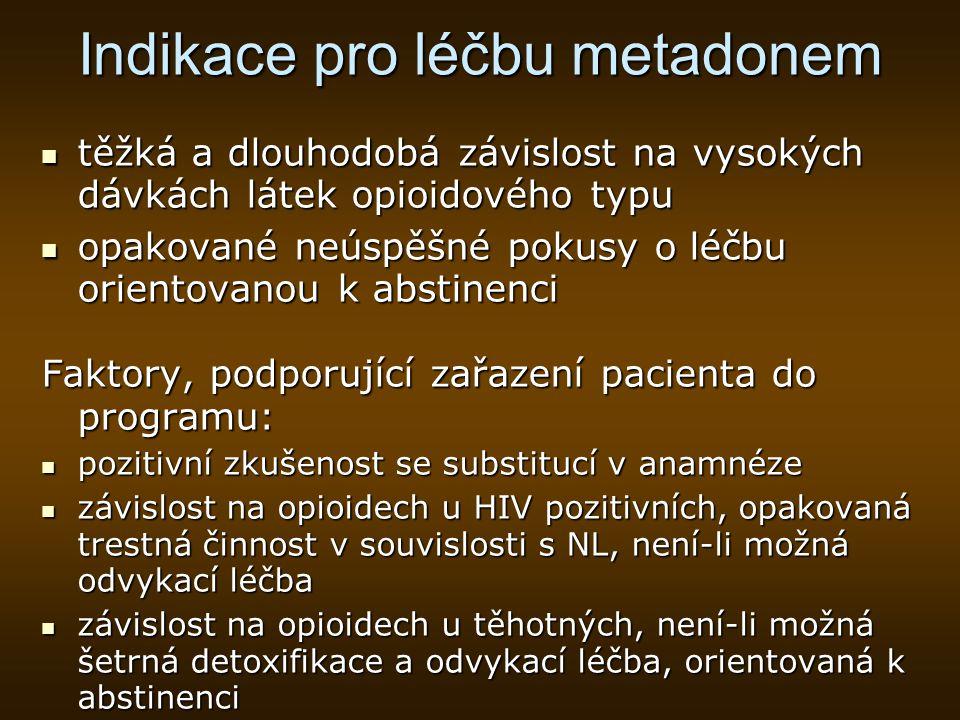 Indikace pro léčbu metadonem
