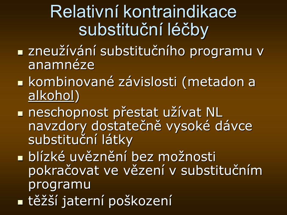 Relativní kontraindikace substituční léčby