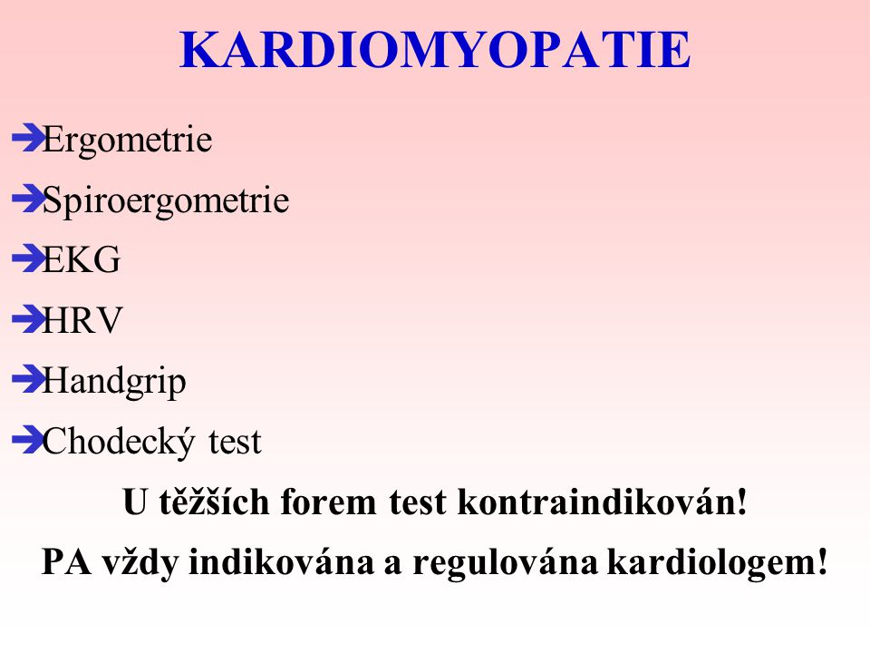KARDIOMYOPATIE Ergometrie Spiroergometrie EKG HRV Handgrip