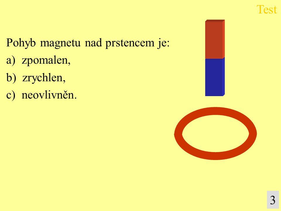 Test 3 Pohyb magnetu nad prstencem je: a) zpomalen, b) zrychlen,