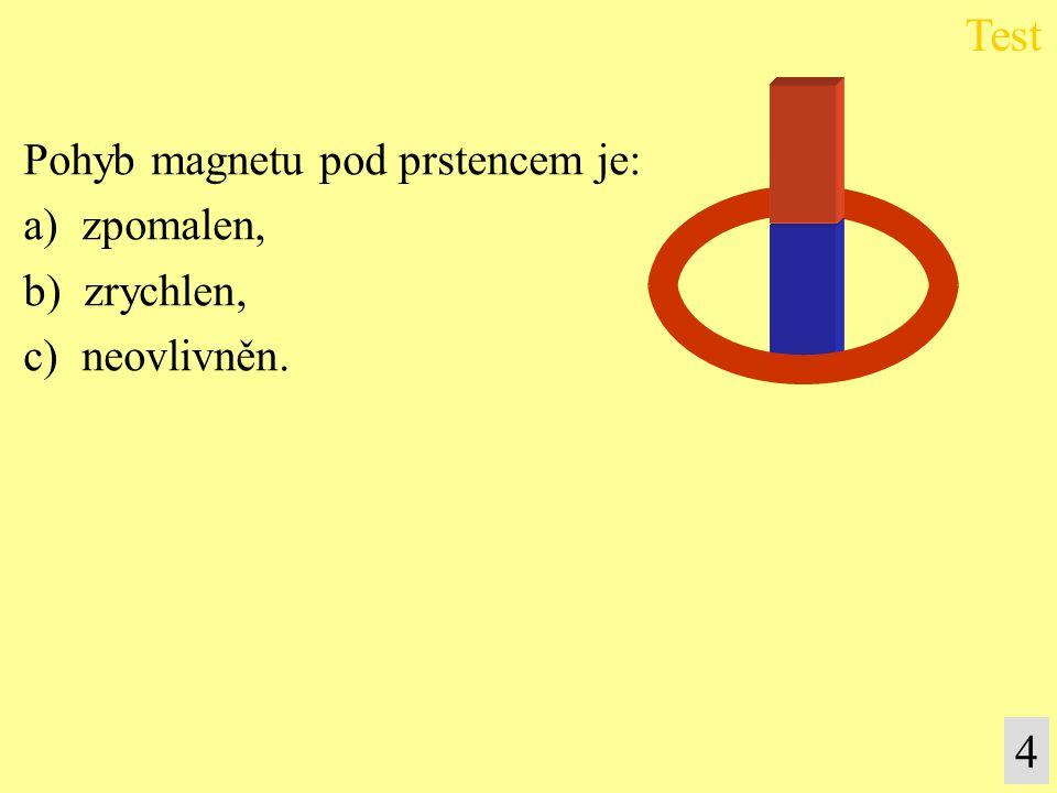 Test 4 Pohyb magnetu pod prstencem je: a) zpomalen, b) zrychlen,