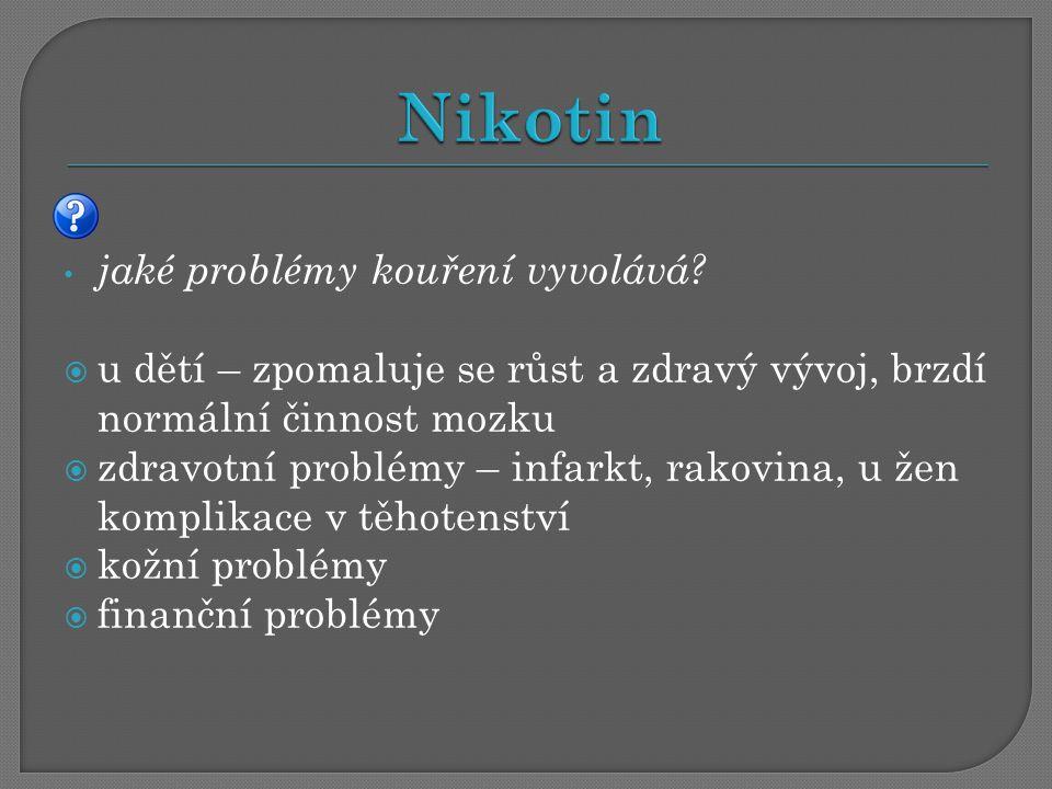 Nikotin jaké problémy kouření vyvolává