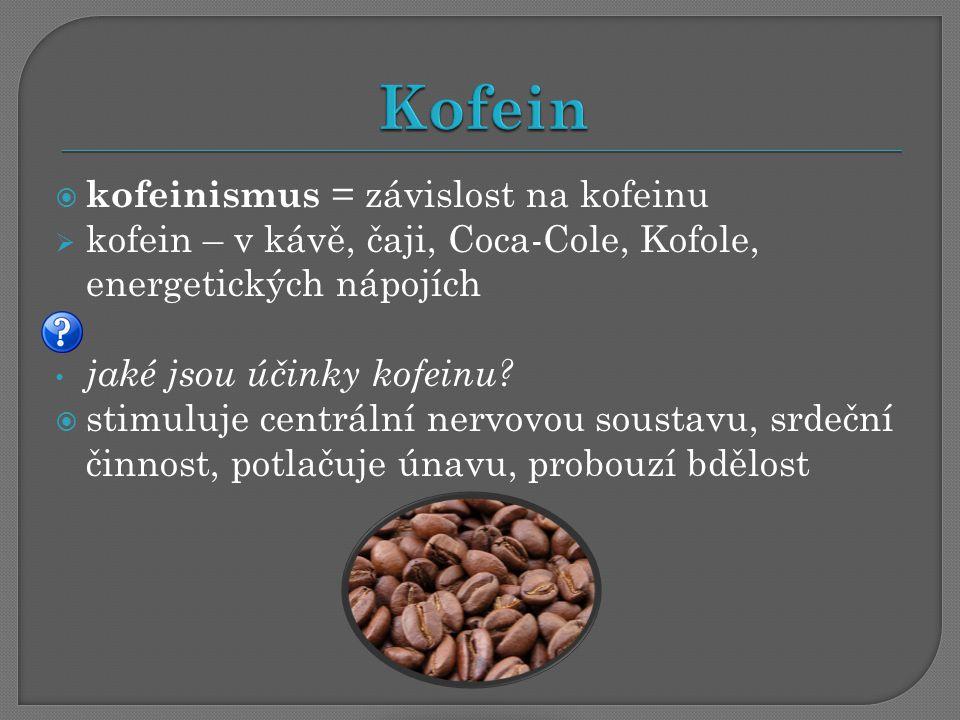 Kofein kofeinismus = závislost na kofeinu