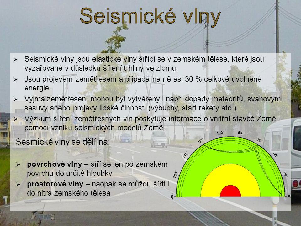 Seismické vlny Sesmické vlny se dělí na:
