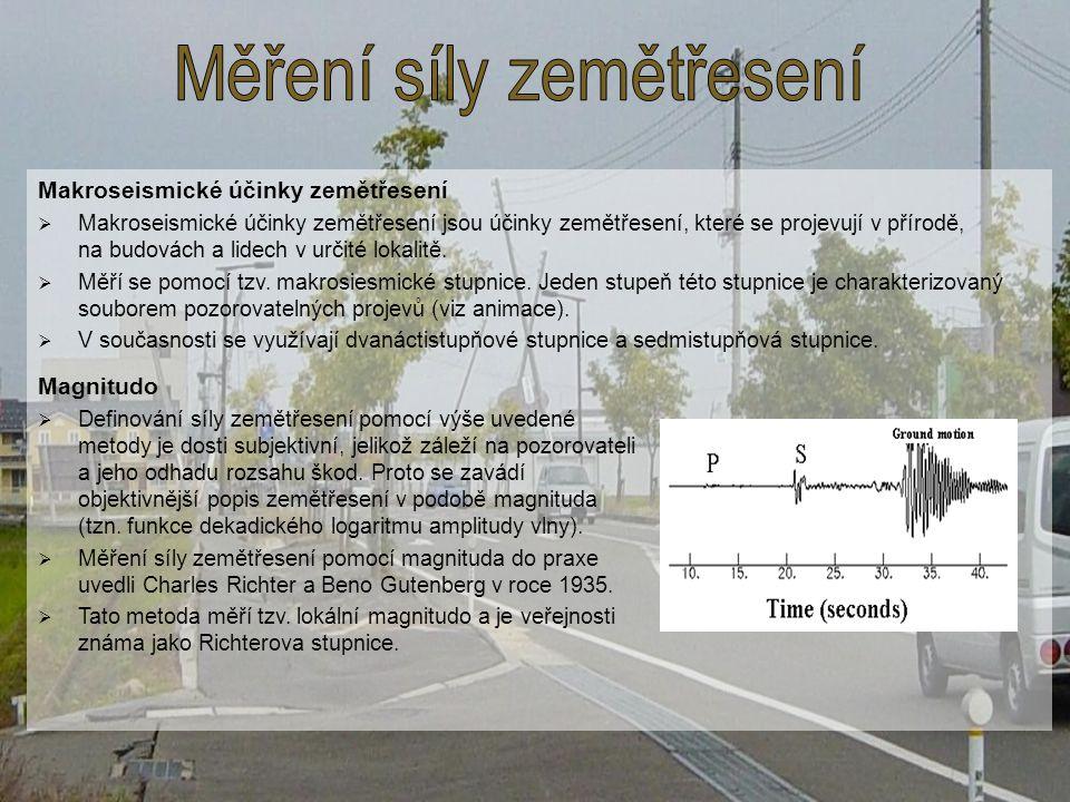 Měření síly zemětřesení
