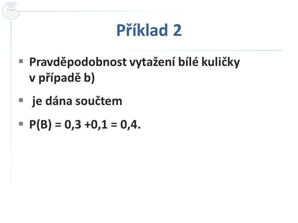 Příklad 2 Pravděpodobnost vytažení bílé kuličky v případě b)