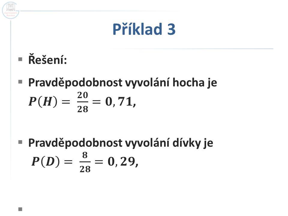 Příklad 3 Řešení: Pravděpodobnost vyvolání hocha je 𝑷 𝑯 = 𝟐𝟎 𝟐𝟖 =𝟎,𝟕𝟏,