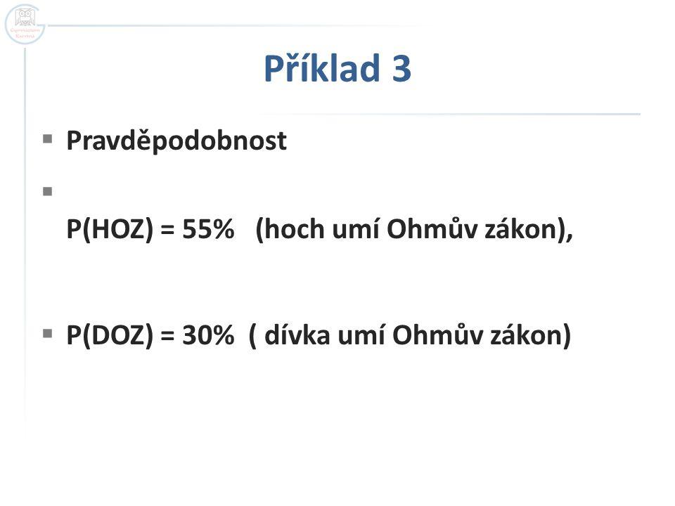 Příklad 3 Pravděpodobnost P(HOZ) = 55% (hoch umí Ohmův zákon),