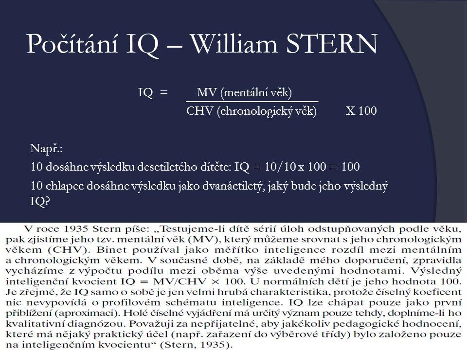 Počítání IQ – William STERN