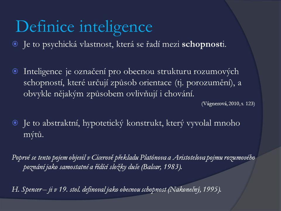Definice inteligence Je to psychická vlastnost, která se řadí mezi schopnosti.