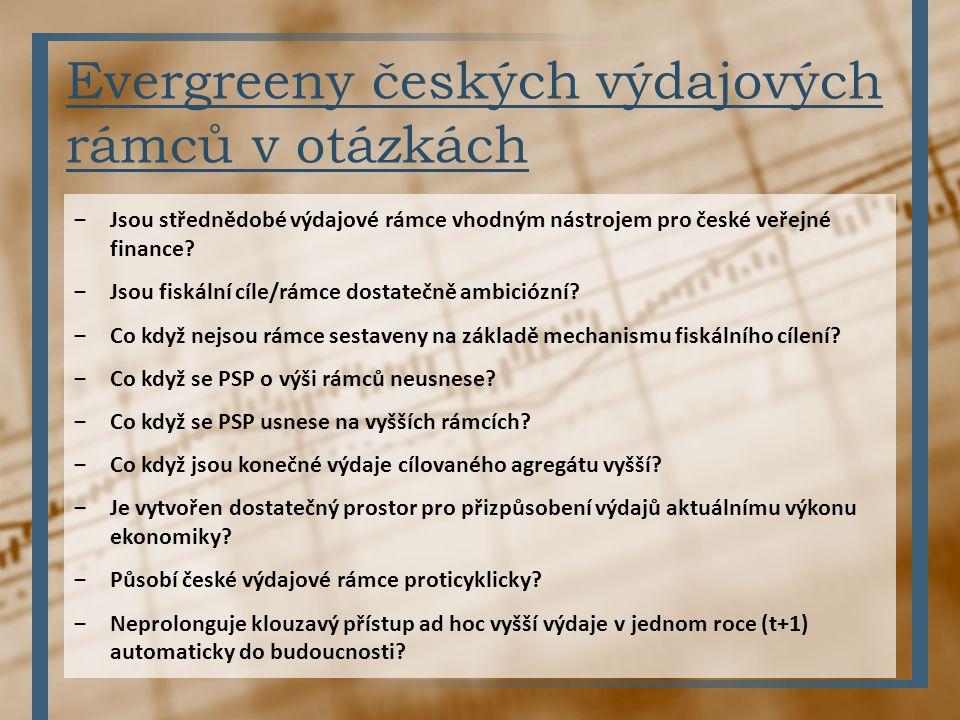 Evergreeny českých výdajových rámců v otázkách