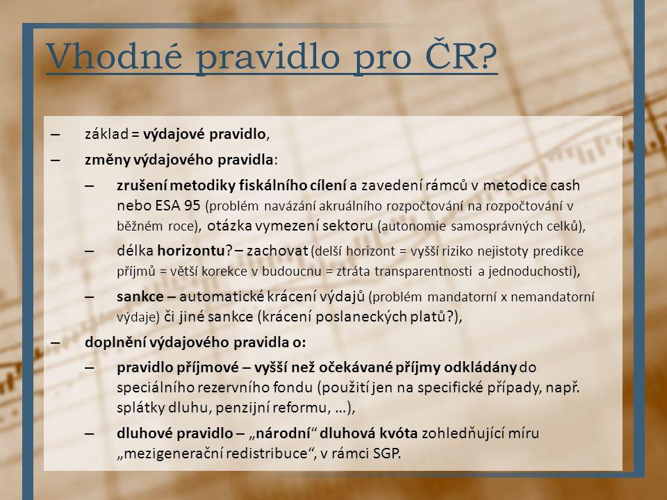 Vhodné pravidlo pro ČR základ = výdajové pravidlo,