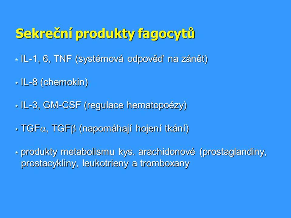 Sekreční produkty fagocytů. IL-1, 6, TNF (systémová odpověď na zánět)