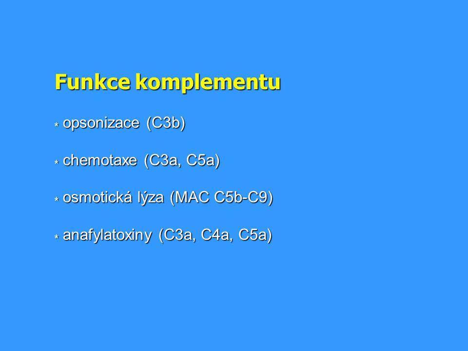 Funkce komplementu. opsonizace (C3b). chemotaxe (C3a, C5a)