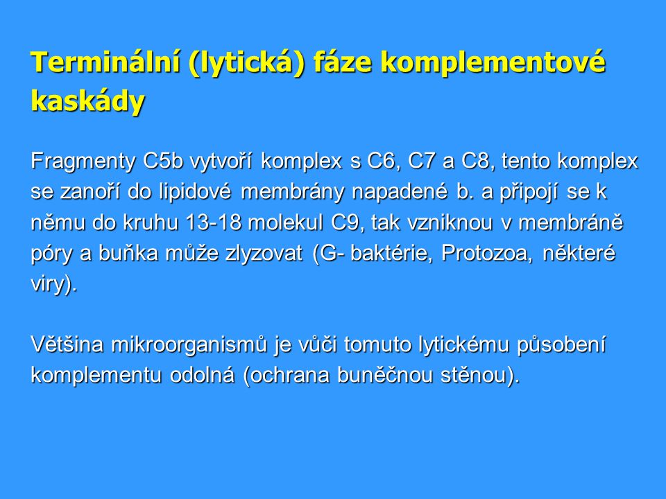 Terminální (lytická) fáze komplementové kaskády Fragmenty C5b vytvoří komplex s C6, C7 a C8, tento komplex se zanoří do lipidové membrány napadené b.