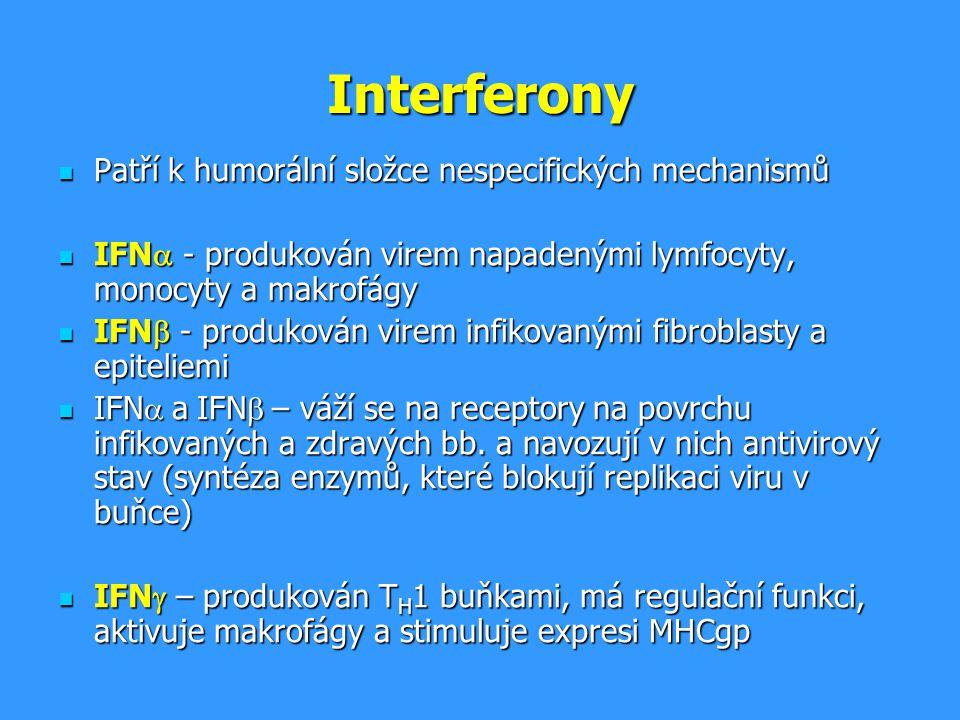 Interferony Patří k humorální složce nespecifických mechanismů