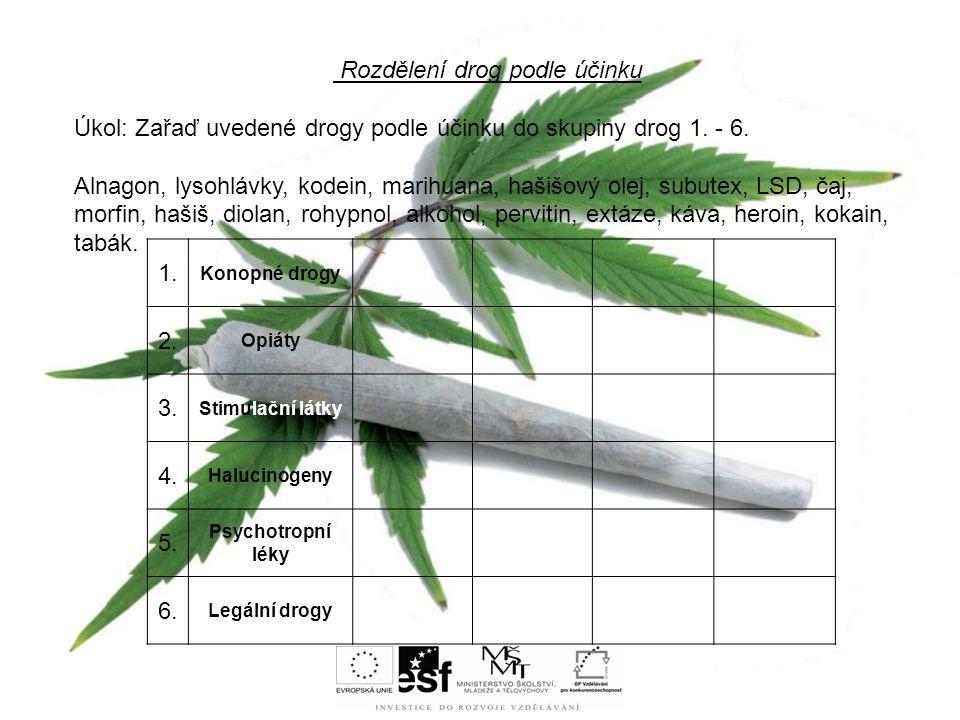 Rozdělení drog podle účinku