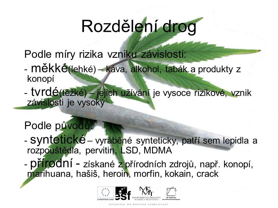Rozdělení drog Podle míry rizika vzniku závislosti: