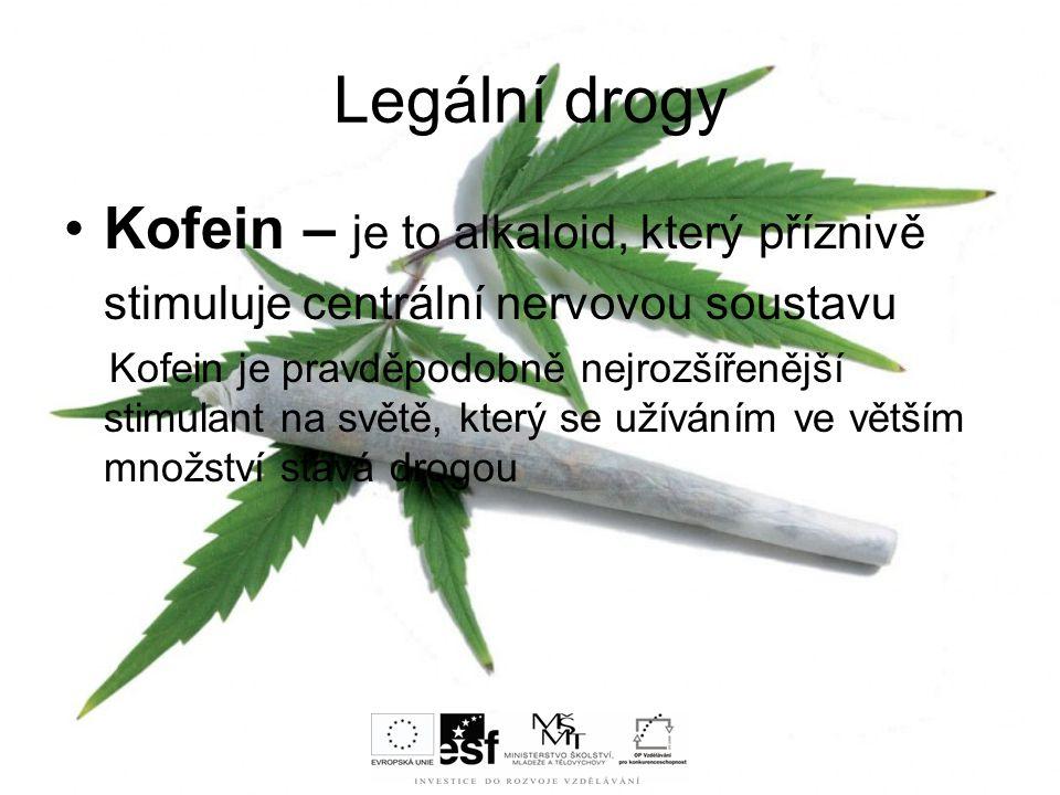 Legální drogy Kofein – je to alkaloid, který příznivě stimuluje centrální nervovou soustavu.