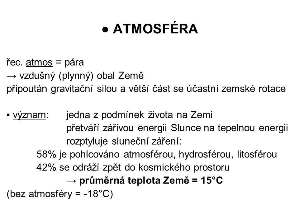 ● ATMOSFÉRA řec. atmos = pára → vzdušný (plynný) obal Země