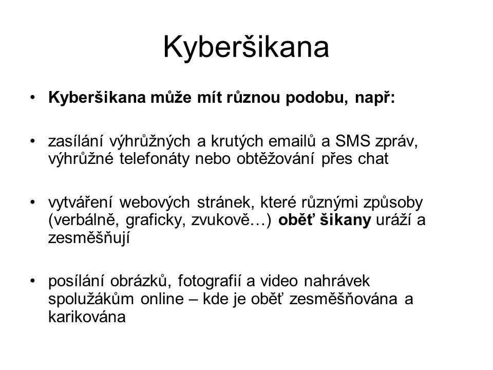 Kyberšikana Kyberšikana může mít různou podobu, např: