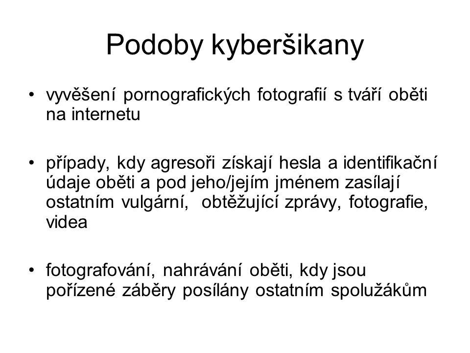 Podoby kyberšikany vyvěšení pornografických fotografií s tváří oběti na internetu.