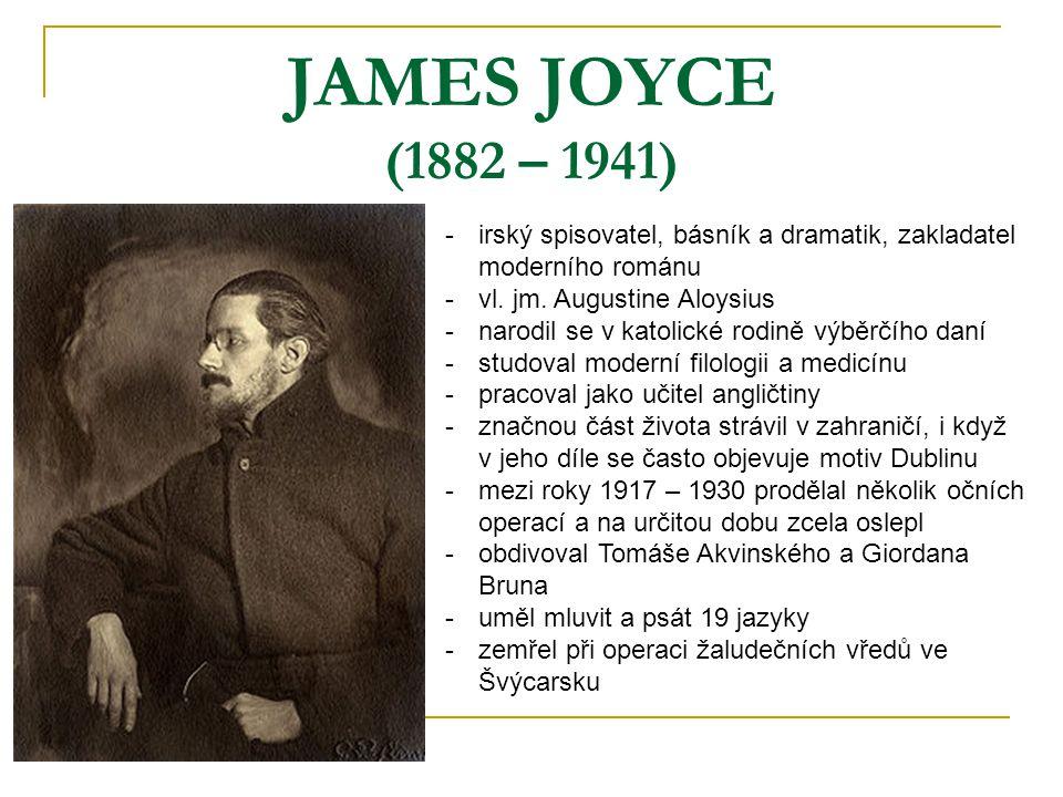 JAMES JOYCE (1882 – 1941) irský spisovatel, básník a dramatik, zakladatel moderního románu. vl. jm. Augustine Aloysius.