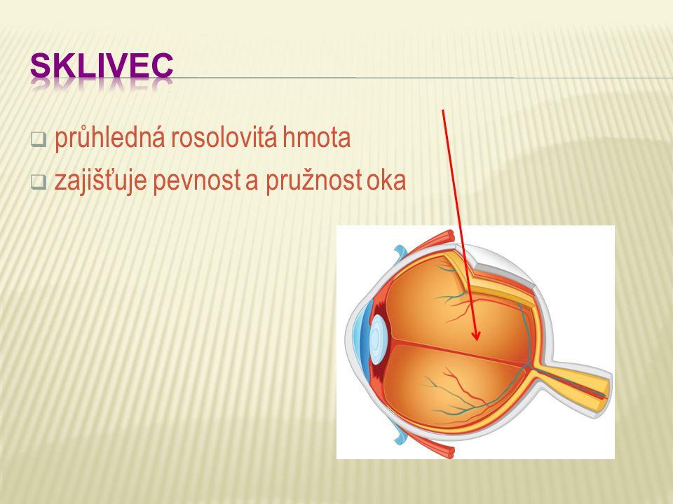 SKLIVEC průhledná rosolovitá hmota zajišťuje pevnost a pružnost oka