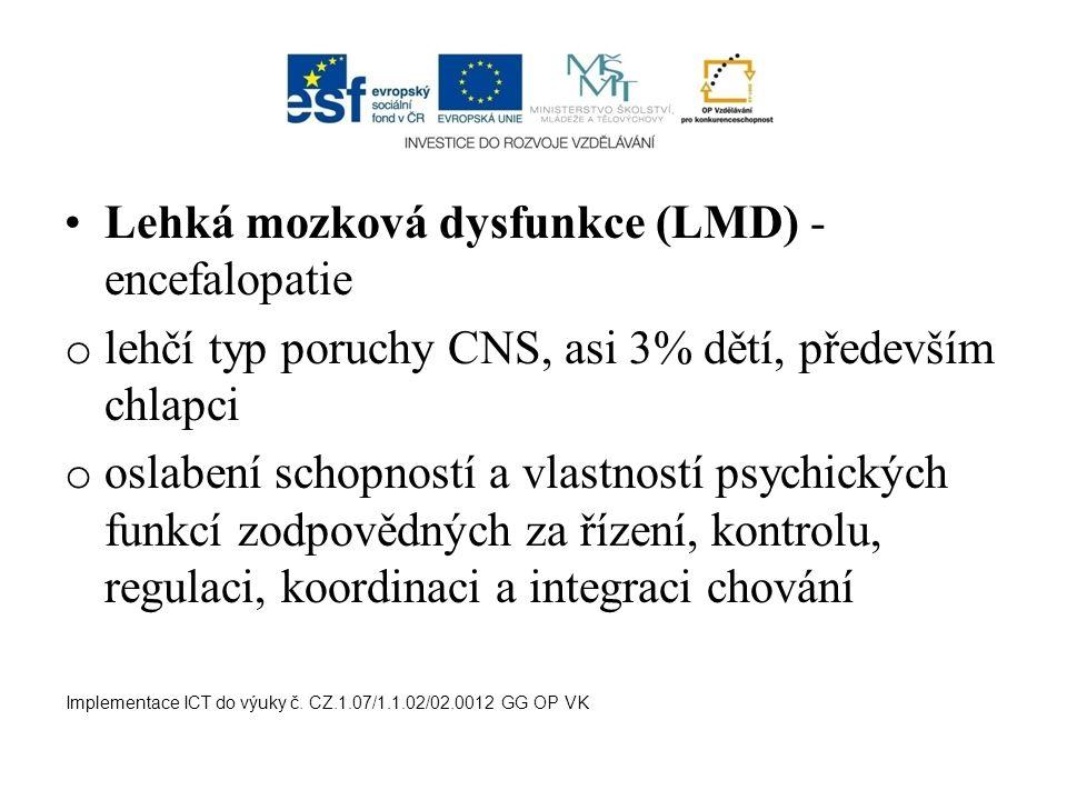 Lehká mozková dysfunkce (LMD) - encefalopatie