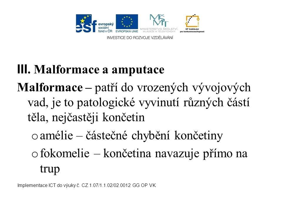 III. Malformace a amputace