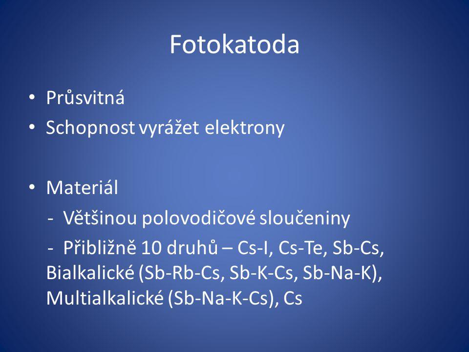 Fotokatoda Průsvitná Schopnost vyrážet elektrony Materiál
