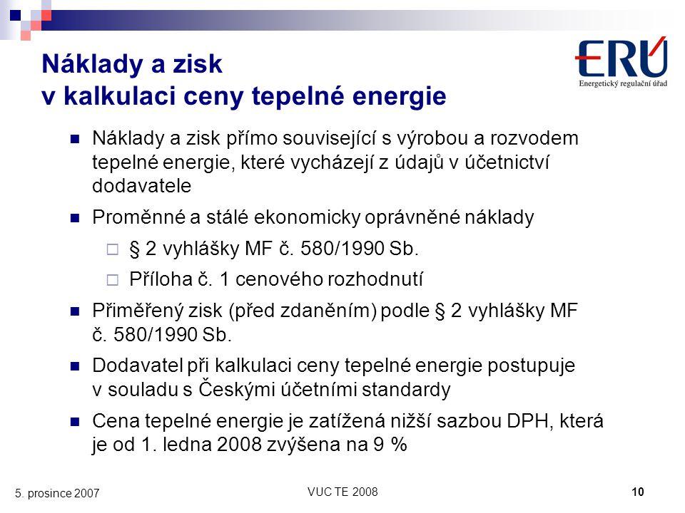 Náklady a zisk v kalkulaci ceny tepelné energie