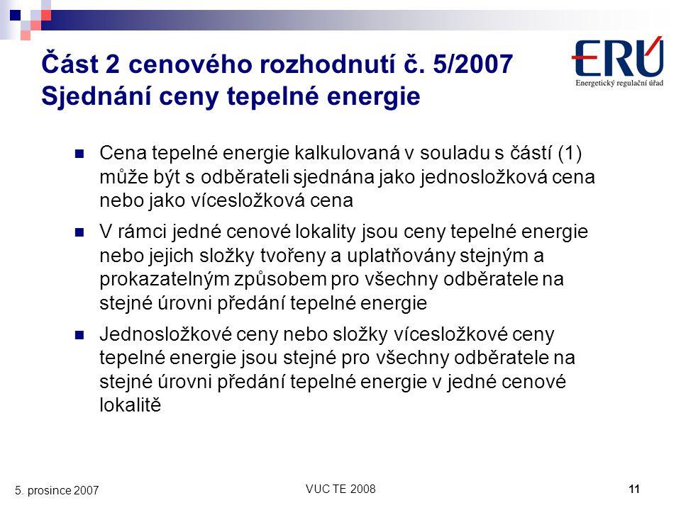 Část 2 cenového rozhodnutí č. 5/2007 Sjednání ceny tepelné energie