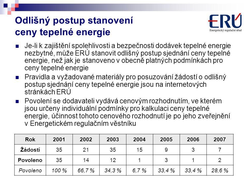 Odlišný postup stanovení ceny tepelné energie