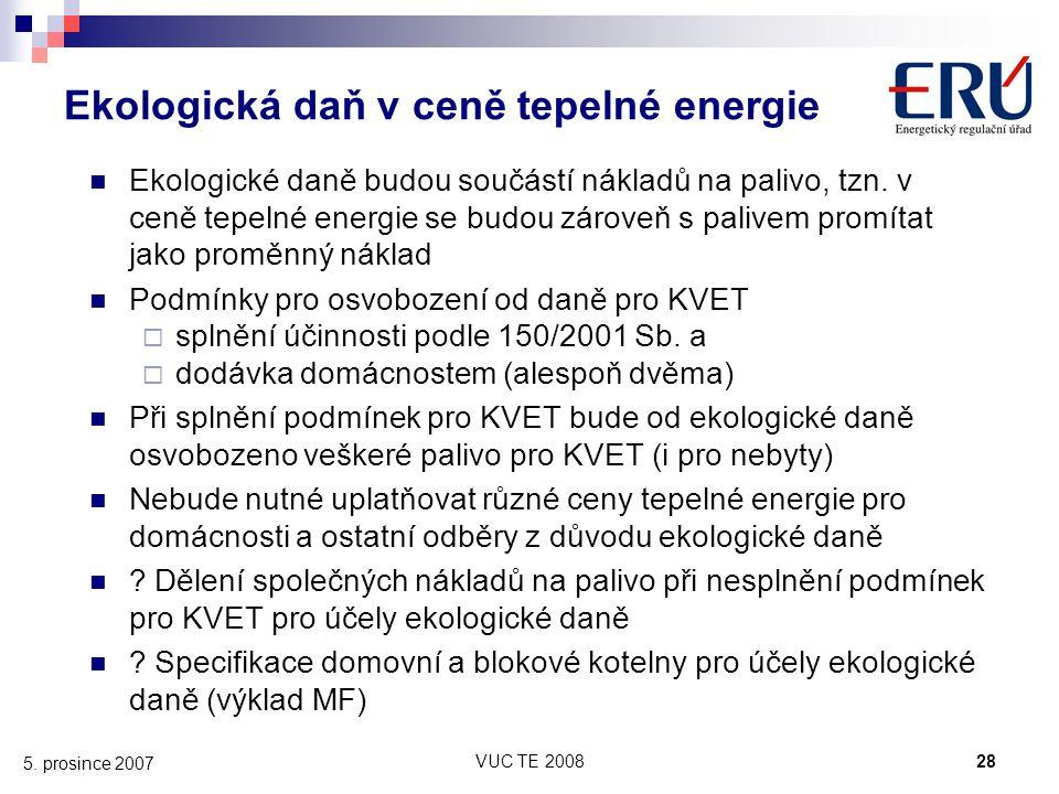 Ekologická daň v ceně tepelné energie