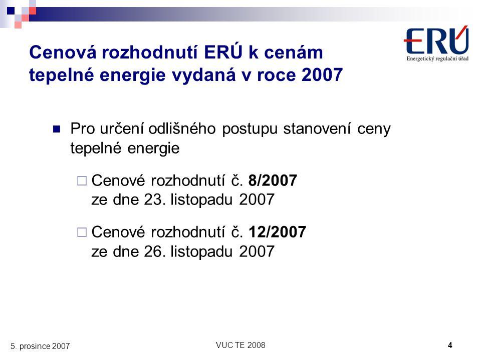 Cenová rozhodnutí ERÚ k cenám tepelné energie vydaná v roce 2007