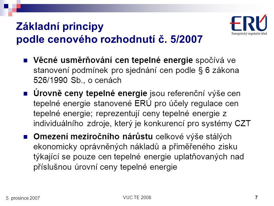 Základní principy podle cenového rozhodnutí č. 5/2007