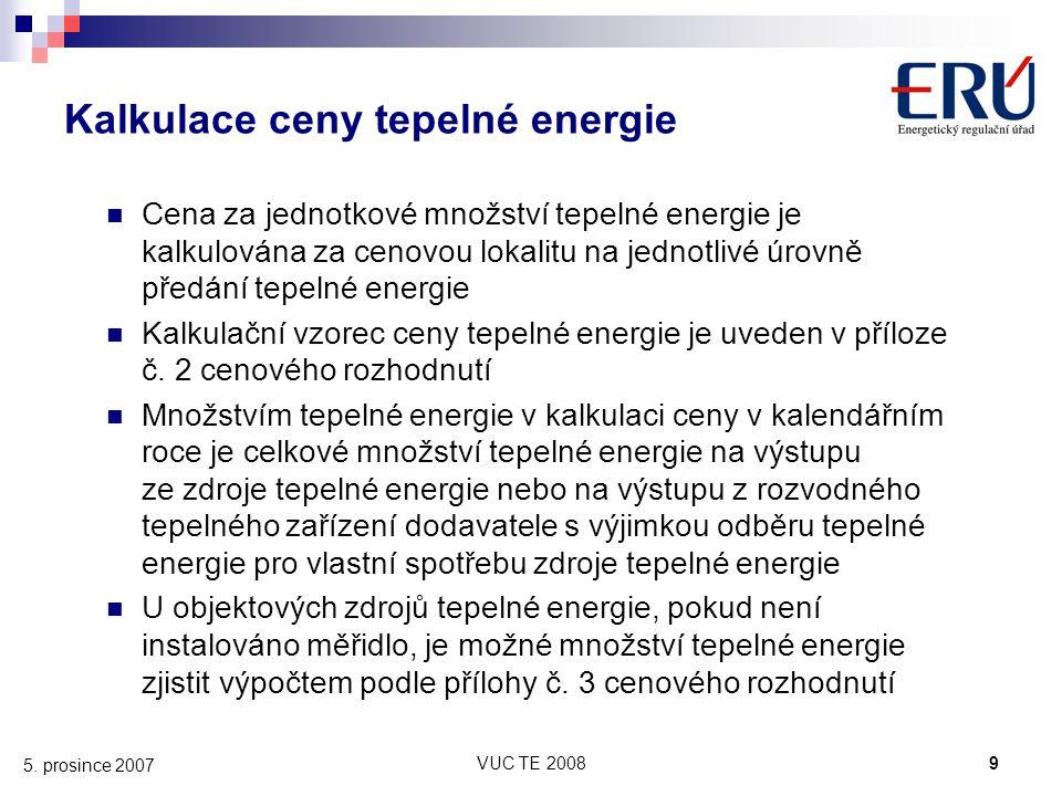 Kalkulace ceny tepelné energie