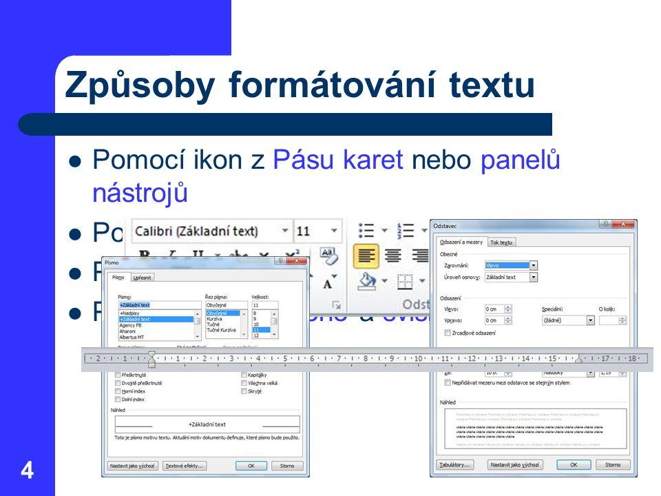 Způsoby formátování textu