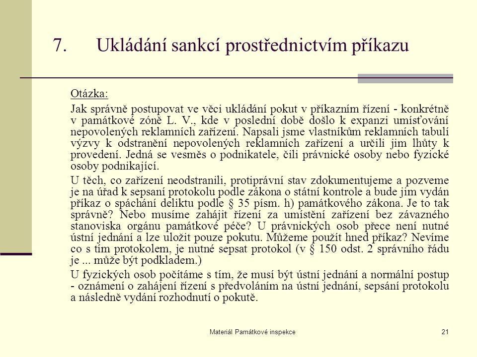 7. Ukládání sankcí prostřednictvím příkazu