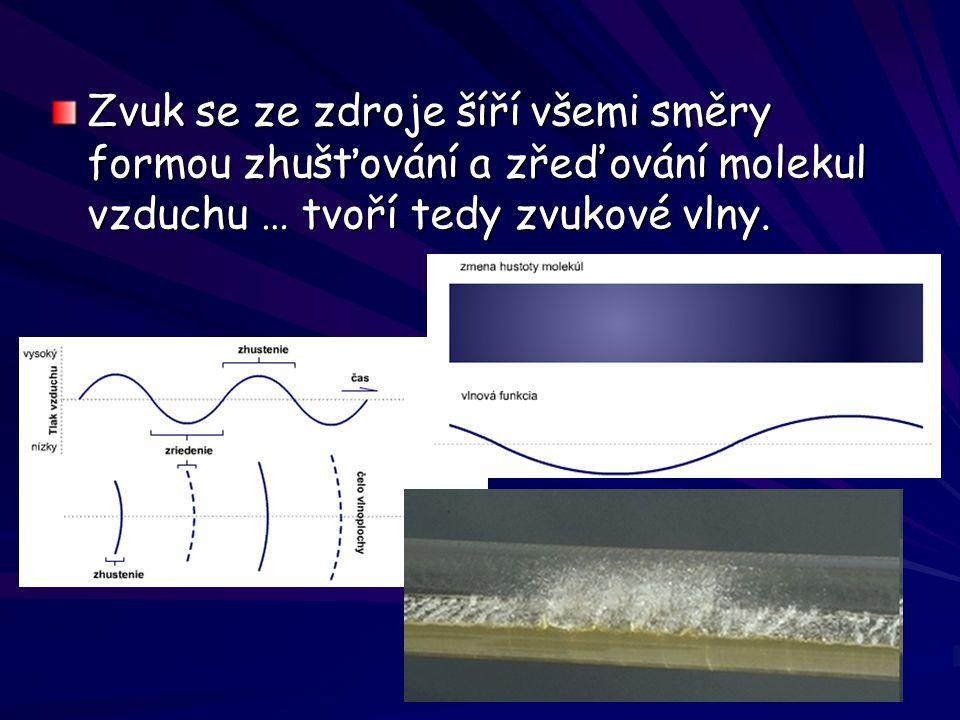 Zvuk se ze zdroje šíří všemi směry formou zhušťování a zřeďování molekul vzduchu … tvoří tedy zvukové vlny.