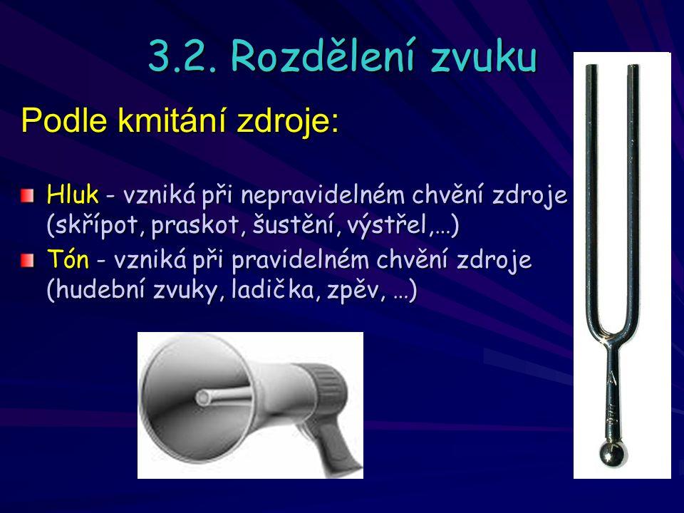 3.2. Rozdělení zvuku Podle kmitání zdroje: