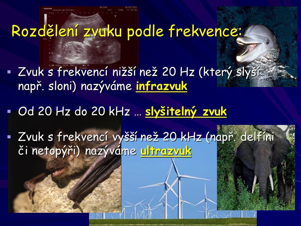 Rozdělení zvuku podle frekvence: