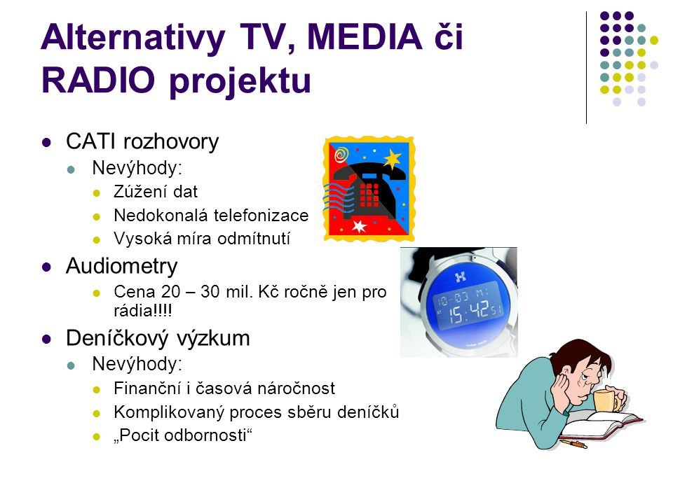 Alternativy TV, MEDIA či RADIO projektu