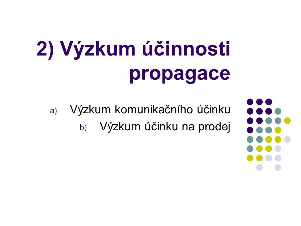 2) Výzkum účinnosti propagace