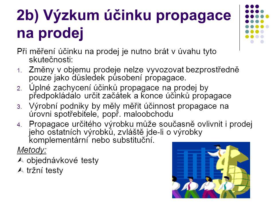 2b) Výzkum účinku propagace na prodej