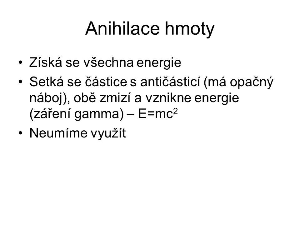 Anihilace hmoty Získá se všechna energie